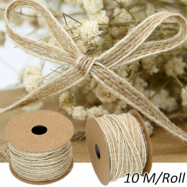 Burlap Rolls Ribbon With Lace Vintage Wedding Decoration Crafts Christmas Gift