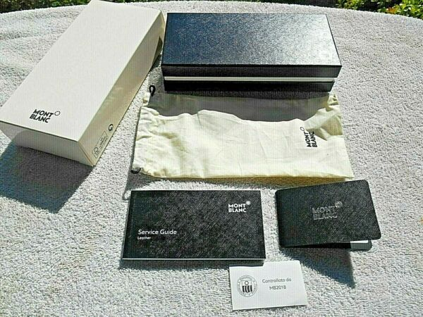 EMPTY MONTE BLANC LEATHER COLLECTION BOX WITH SERVICE GUIDE CARD amp; BAG