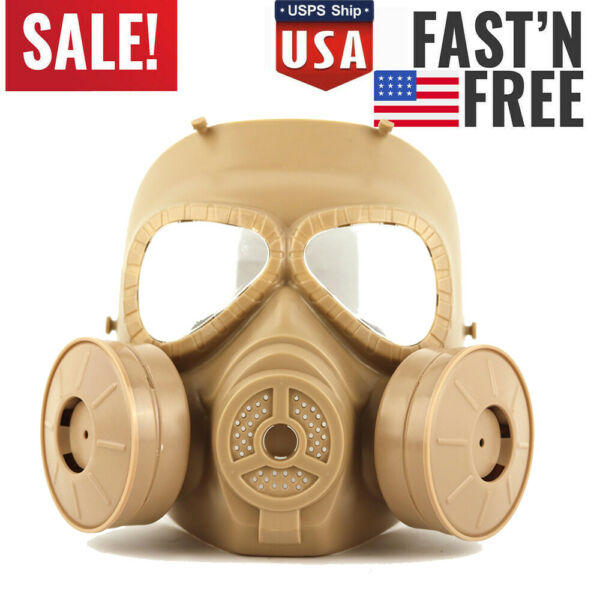 Outdoor Double Sided Fan Gas Mask Military Adult Equipment Full Face Protective $25.64