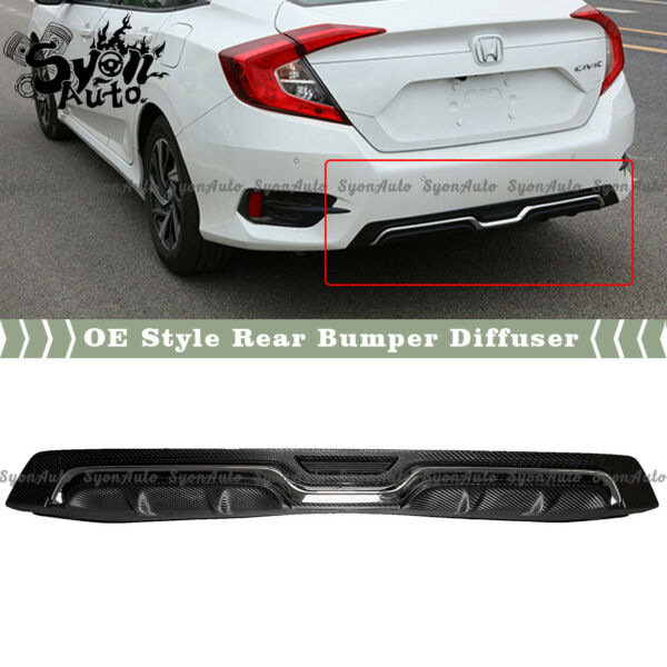 FITS 2016 2020 HONDA CIVIC SEDAN CARBON LOOK REAR BUMPER DIFFUSER W CHROME TRIM