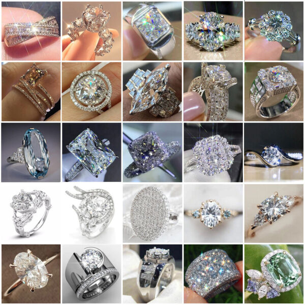 Gorgeous Wedding Rings Women 925 Silver Jewelry White Sapphire Ring Size 6 10