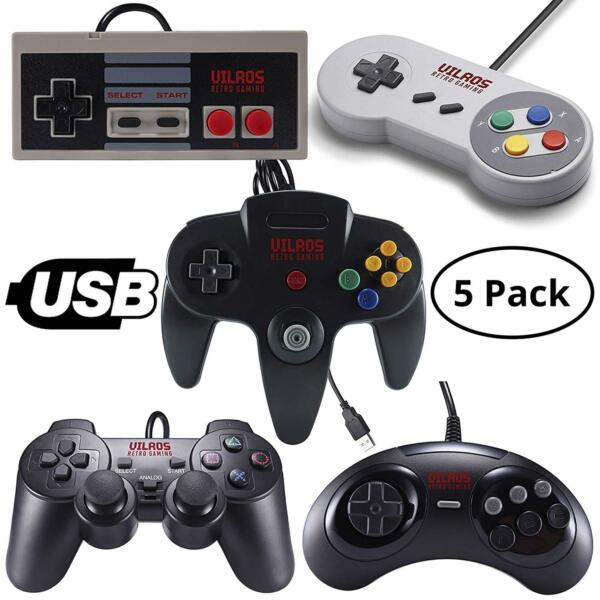 Vilros Retro Gaming USB Classic 5 Controller Set Great for RetroPie PC amp; More