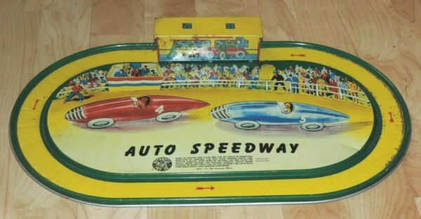 VINTAGE AUTO SPEEDWAY TIN LITHO CAR RACE TRACK AUTOMATIC TOY CO GREAT GRAPHICS $39.99