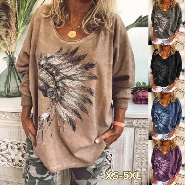 Women Casual T Shirt Long Sleeve V Neck Tops Loose Blouse Floral Tunic