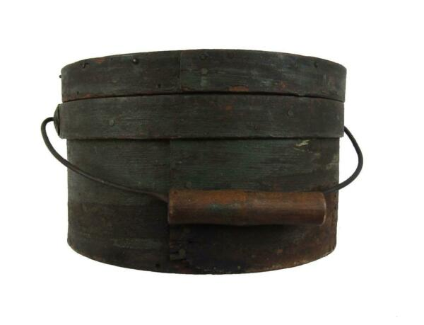 Antique 19thC PANTRY BOX ORIG GREEN GRUNGY PAINT AAFA Firkin Basket Primitive