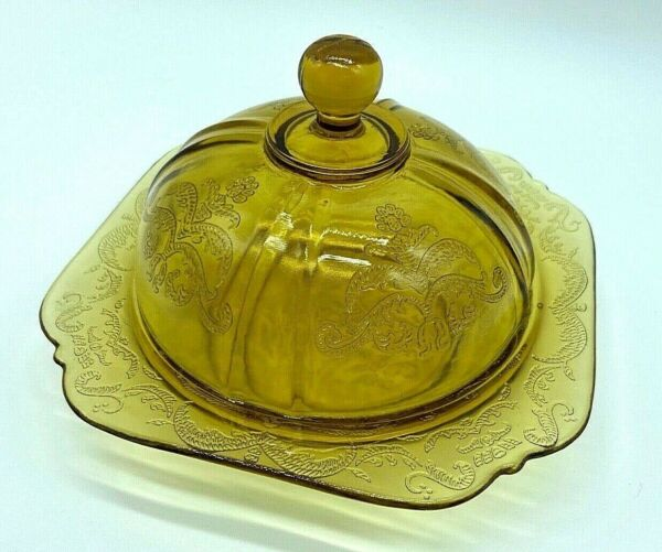Vintage Federal Amber Depression Glass Covered Butter Dish Madrid Pattern