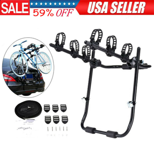 Trunk Mount 3 Bike Rack Bicycle Carrier Hatchback SUV Car Outdoor Qucik Release $50.99