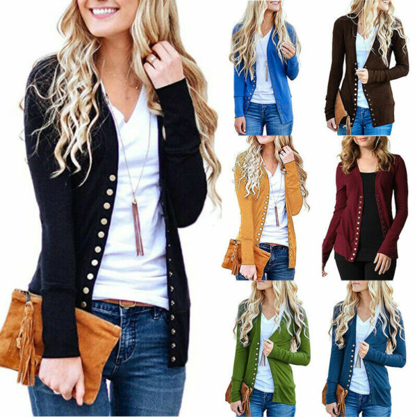Womens Button Down Cardigan Tops Long Sleeve Knit Sweater Jacket Coat Outwear