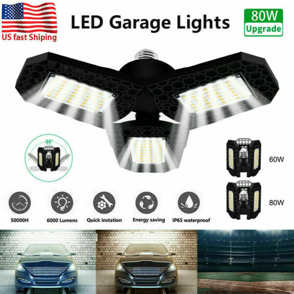 80W 8000LM Deformable LED Garage Light Super Bright Shop Ceiling Lights Bulb RG $16.78