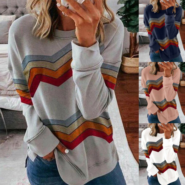 Women Long Sleeve Pullover Crew Neck Blouse Casual Stripe T Shirt Loose Fit Tops $15.95