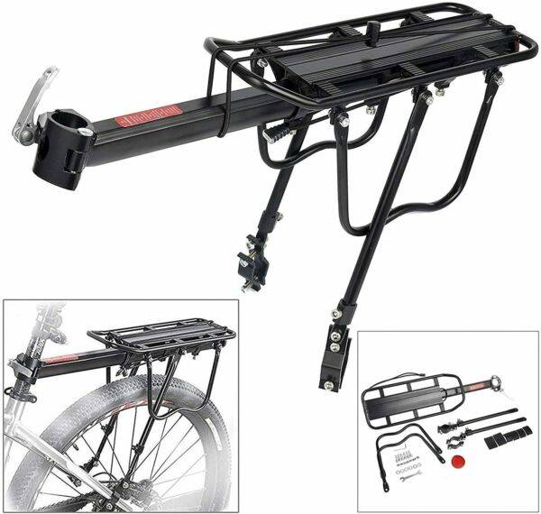 110 Lbs Bicycle Rear Rack Adjustable Pannier Bike Luggage Cargo Rack Capacity $28.99