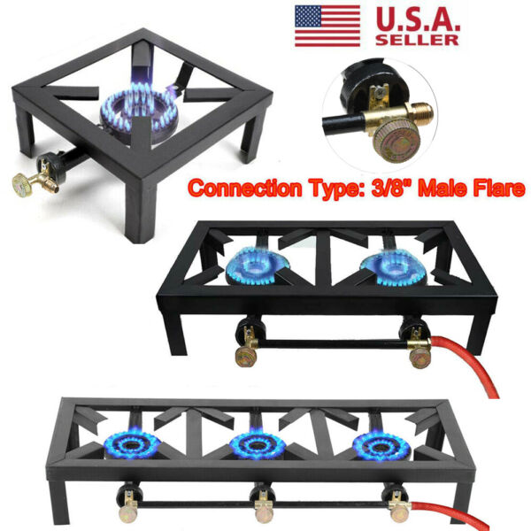 Double Single Burner Cast Iron Propane Gas Stove Outdoor Camping BBQ Cooker