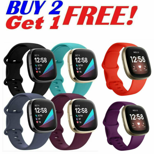 Comfort Sport Soft For Fitbit Versa 3 Sense Silicone Watch Strap Wrist band New $7.99