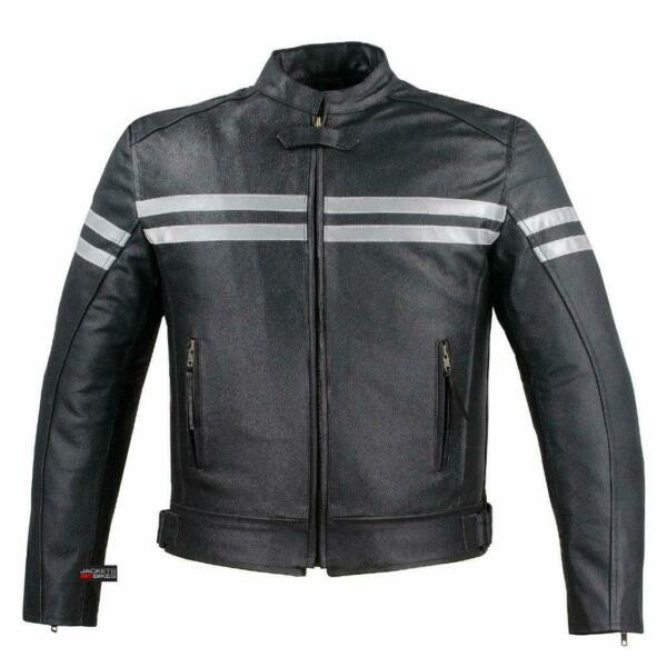 Track Biker Motorcycle Leather Armor Riding Racer Black Size L Jacket {BC} $104.99