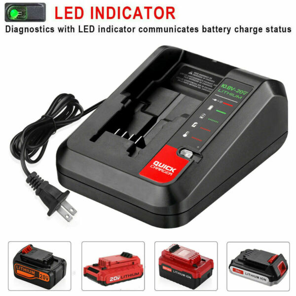 20V MAX Rapid charger for Blackamp;Decker and Porter Cable 20 Volt Lithium Battery