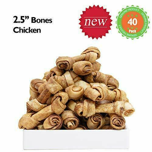 MON2SUN Dog Rawhide Knot Bones 2.5 Inch for Puppy and inch 40 Count $21.99