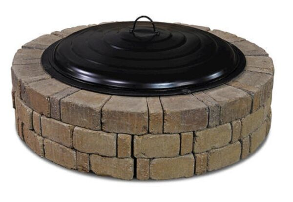 31quot; Fire Pit Ring Lid Spark Screen Black Round Outdoor Wood Burning Bowl Cover