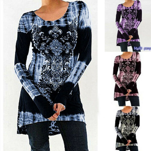 Women Long Sleeve Crew Neck Floral Print T Shirt Casual Loose Blouse Tunic Tops