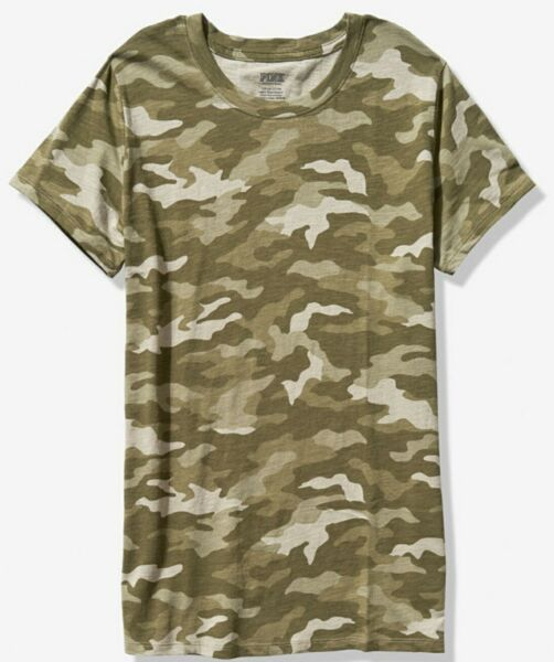 NWT PINK VS VICTORIA#x27;S SECRET CREW TEE TSHIRT GREEN CAMO LARGE FREE SHIPPING