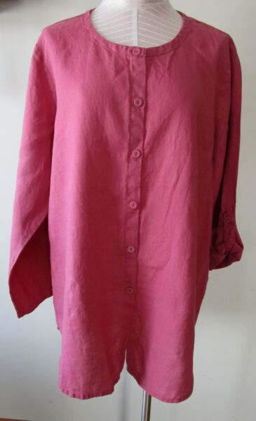 FLAX Designs Linen Cover Story Shirt L NWT Sunshine Tunic ROSE $59.99