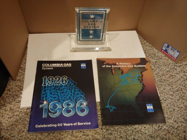 Vintage 60s 70s Columbia Gas System Lucite Paperweight PlaqueTwo 80#x27;s Magazines $40.00