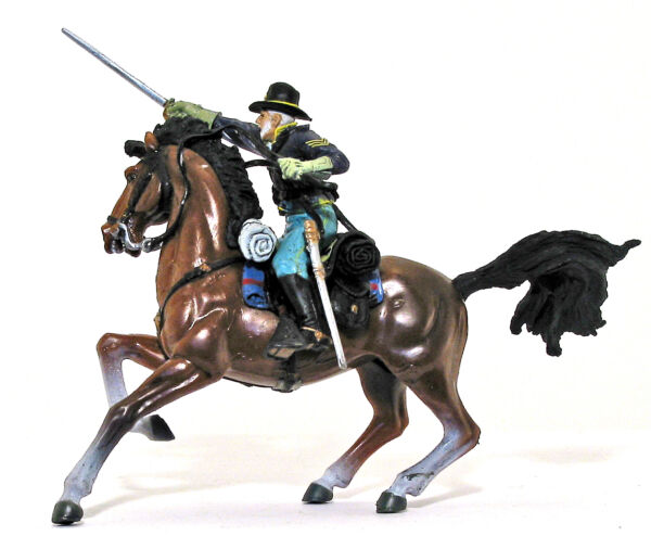Forces of Valor Union Cavalrymen painted 1:32 scale toy soldier