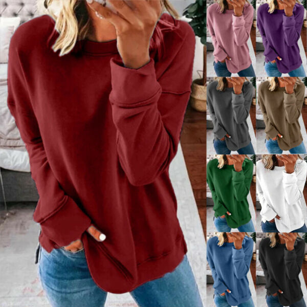 Women Casual Long Sleeve T Shirt Blouse Loose Pullover Tunic Tops Tee Plus Size $8.99