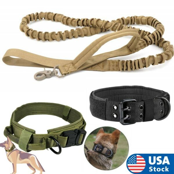 Tactical K9 Dog Training Collar Leash with Metal Buckle for L Dog Heavy Duty $6.99