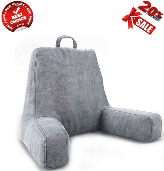 Large Bed Rest Pillow Reading TV Relax Pregnancy Lower Back Support Cushion Gray $32.99
