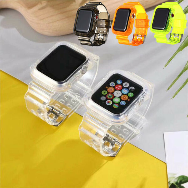 Watch Band Strap Silicone TPU Clear For Apple Watch Series 6 5 4 3 2 1 iwatch SE $8.99