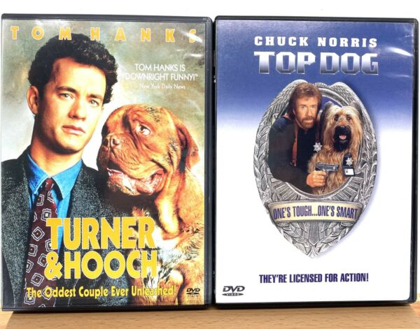 Turner and Hooch DVD 2002 amp; Top Dog DVD 1999 Tom Hanks Chuck Norris $11.99