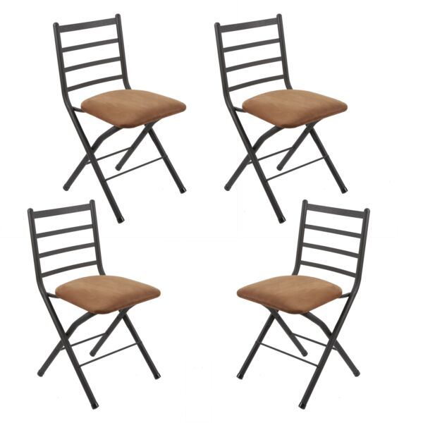 4 Pack Two Tone Ladder Back Folding Chair Microfiber Seat Dining Party Brown $136.45