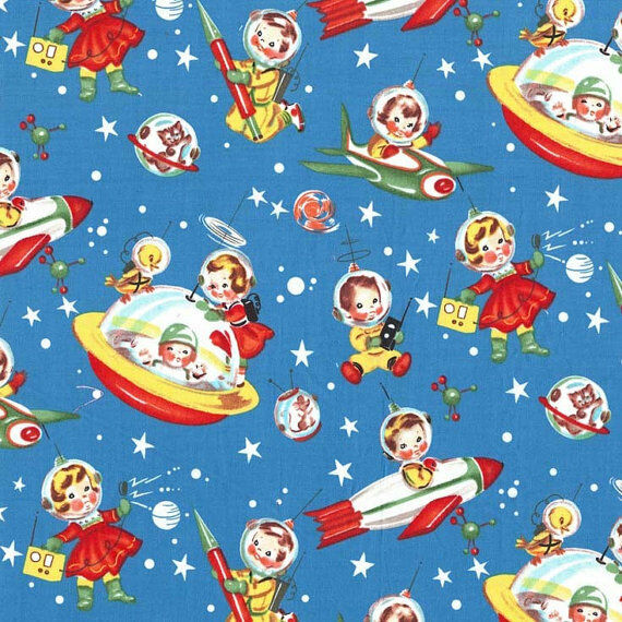 Retro Rocket Rascals Vintage Spaceships Michael Miller Cotton Fabric Adorable $12.00