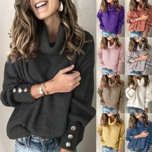 Womens Knit Long Sleeve Pullover Sweater Jumper Turtleneck Casual Tops Plus Size