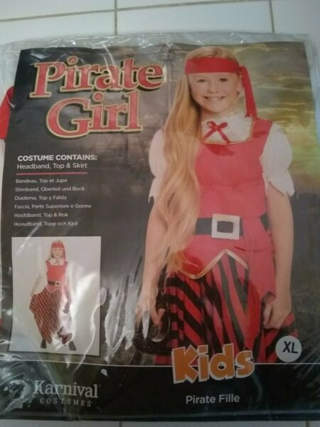 Karnival Costumes Pirate Girl Sz Xl Head Band Top And Skirt $3.99