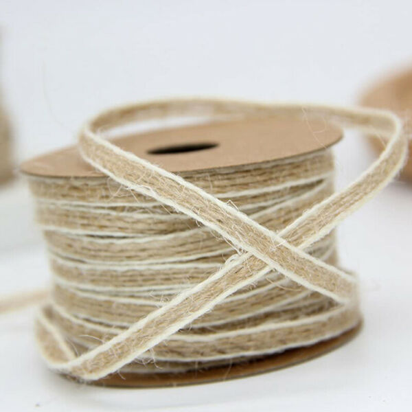 1 Roll Twine String Natural Burlap Ribbon Roll For DIY Art Crafts Wedding Decor