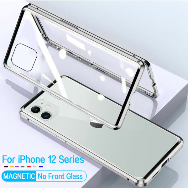 360° Magnetic Adsorption Case iPhone 12 Pro Max Mini Tempered Glass Metal Cover