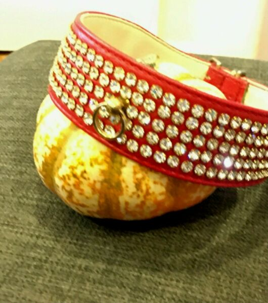 Fancy Dog Collar SWANK 1.5quot; x 20quot; RED 5 row Rhinestones USA MADE $26.00