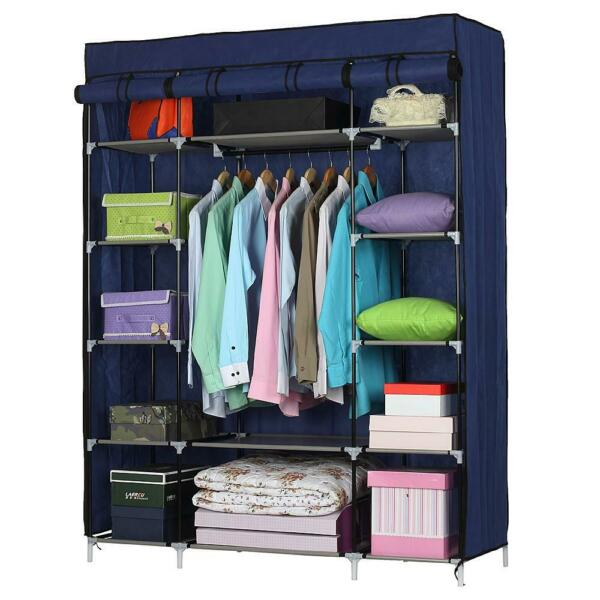 5 Layer 12 Grids Portable Closet Storage Organizer Wardrobe Clothes Rack Fabrics