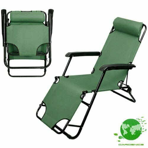 Green Folding Outdoor Lounge Chair Beach Sun Patio Chaise Pool Lawn Lounger $41.05