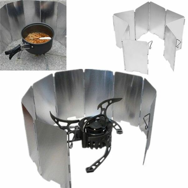 Foldable 9 Plates Camping Cooker Gas Stove Wind Shield Outdoor