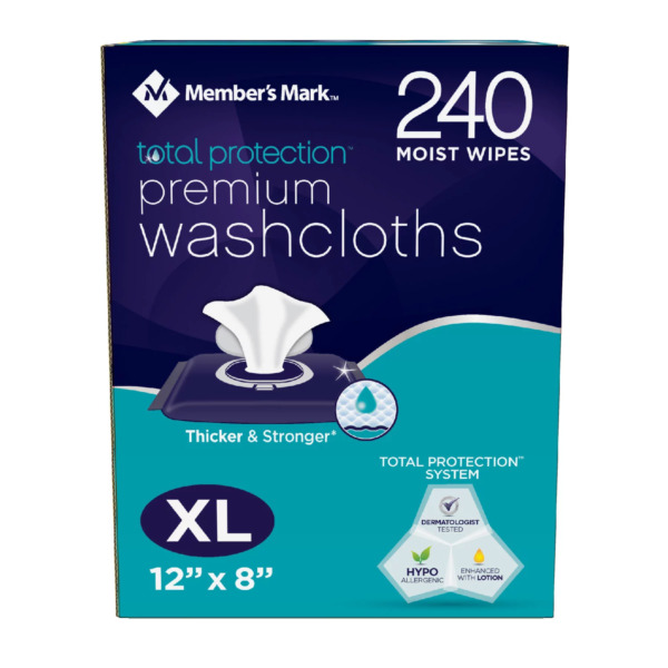 Member#x27;s Mark 240 Adult Washcloth Disposable Moist Wipes 12 x 8