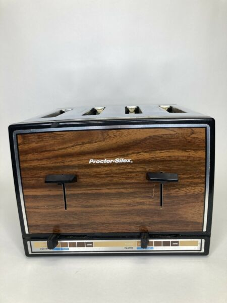 Vintage Proctor Silex 4 Slice Toaster Stainless Chrome Wood Grain USA Made WORKS