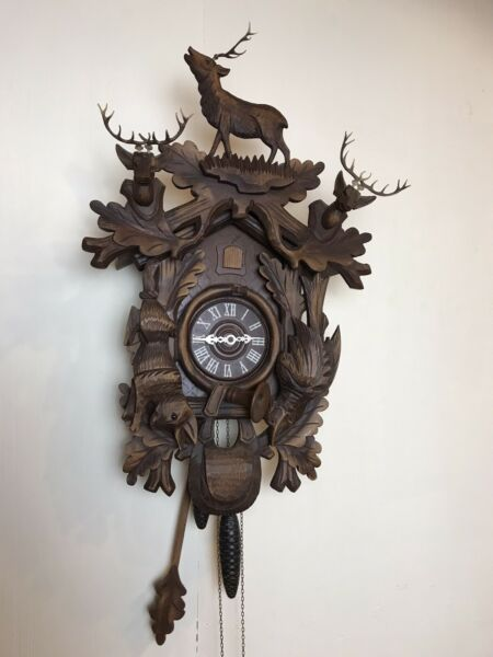 VTG LG Hand Made Black Forest Cuckoo Clock With Three Stag Horn Deer 8 Days #1