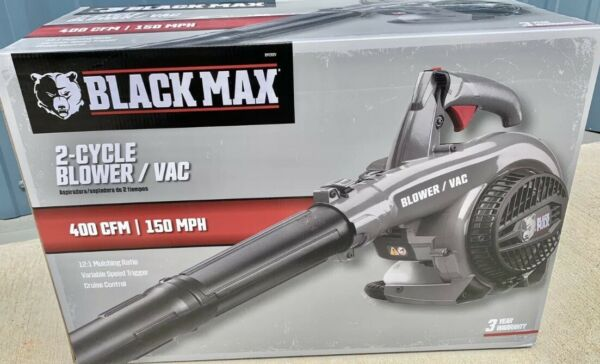 *NEW*Black Max Powerful 26cc 2 Cycle Engine 400 CFM amp; 150 MPH Gas Blower Vacuum