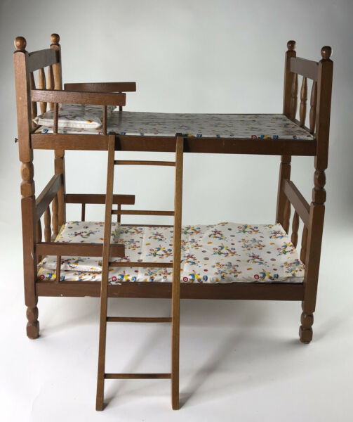 OOAK Scale Furniture for Barbie Diorama: Wood Twin Bunk Beds and Mattresses $49.99