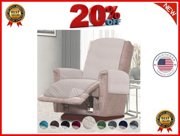 Reversible Recliner Chair Cover Furniture Protector Pet Cover Small Light Beige $99.99