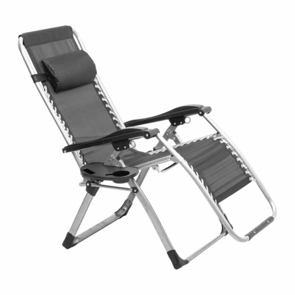 Lounge Zero Gravity Chair Folding Recliner with Headrest Table Garden Patio Pool