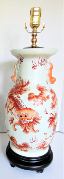 Chinese Porcelain Foo Dog Table Lamp 22quot;H Stunning $429.00