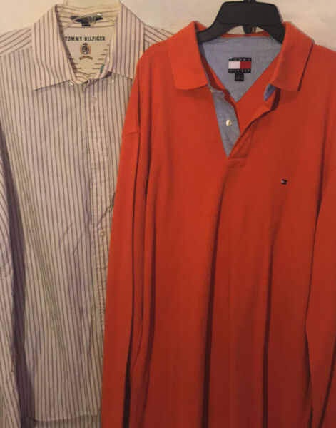 2 Mens Size Large Tommy Hilfiger Shirts A Button Down And A Polo In Great Shape $22.00